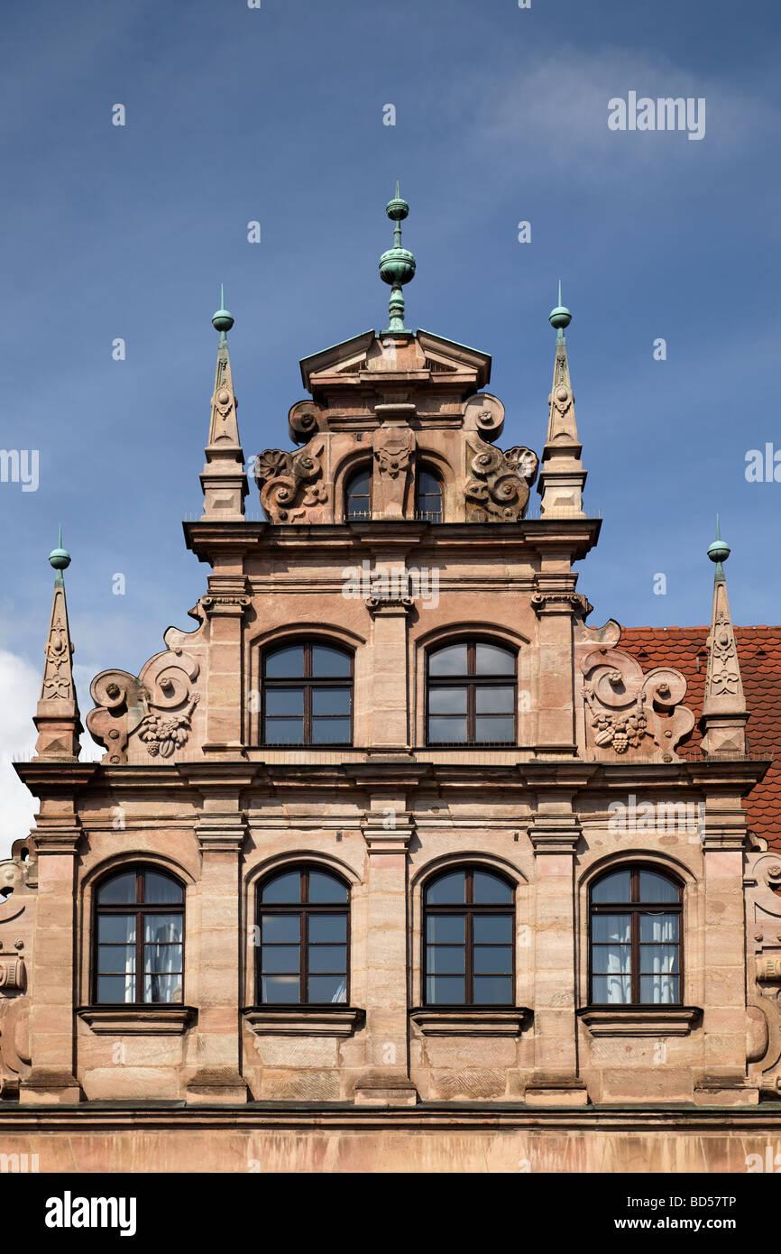 Musée du jouet, gable, renaissance, ancienne maison patricienne, construit autour de 1517, Karlstrasse 13-15, Photo Stock