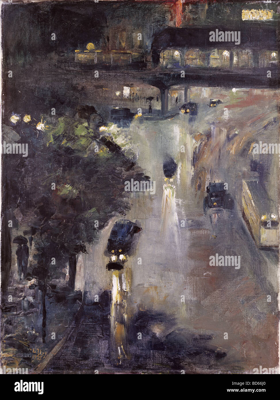Beaux-arts, Ury Lesser (1861 - 1931), la peinture 'la nuit' Nollendorfplatz, huile sur toile, 72,5 cm x Photo Stock