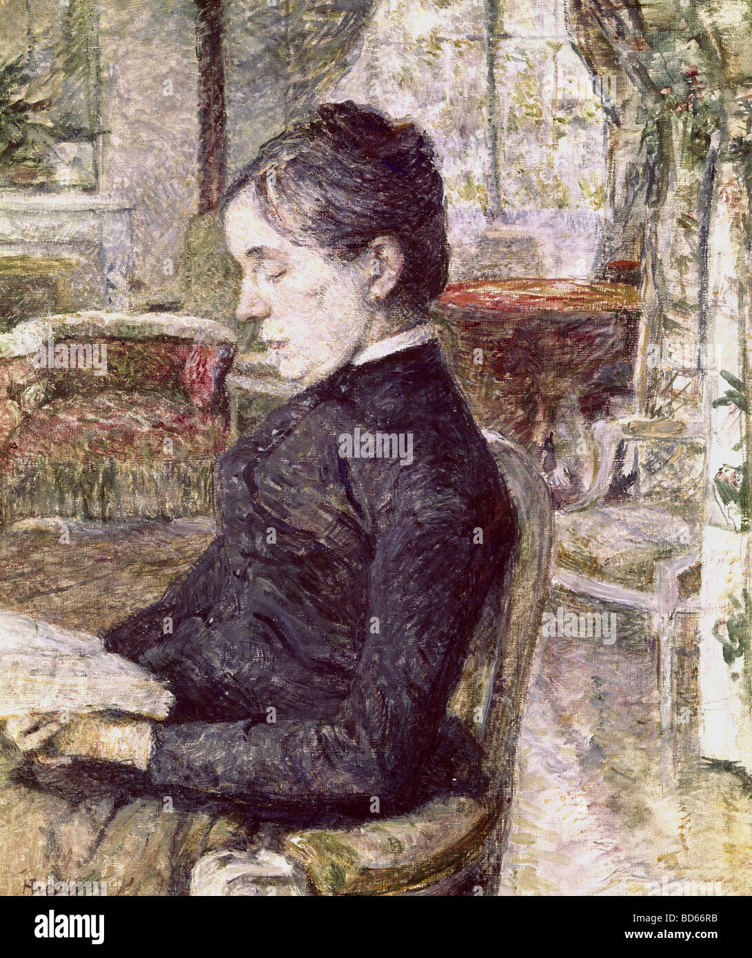 Beaux-arts, Toulouse-Lautrec, Henri de (1864 - 1901), peinture, portrait de sa mère dans le salon de Château Malrome, Banque D'Images