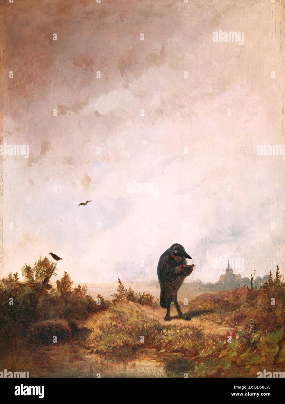 Beaux-arts, Spitzweg, Carl (1808 - 1885), peinture, huile sur bois, 27 cm x 36 cm, vers 1840, Haus der Kunst, Munich, Photo Stock