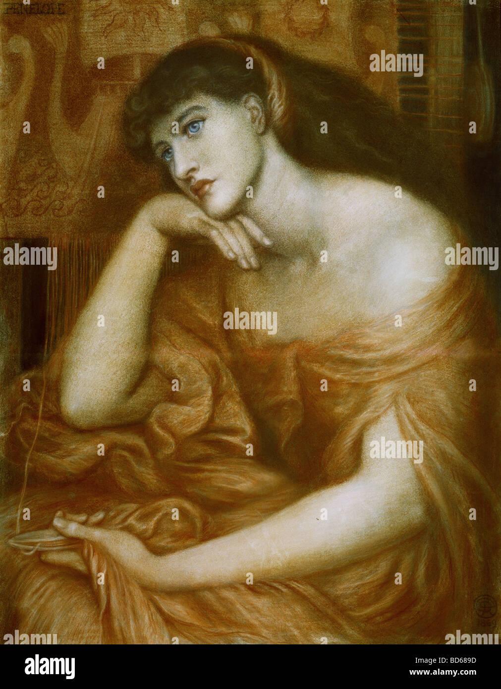 """Beaux-arts, Dante Gabriel Rossetti, (1828 - 1882), peinture, """"Penelope"""", huile sur toile, 1869, symbolisme, preraffaelites, Banque D'Images"""