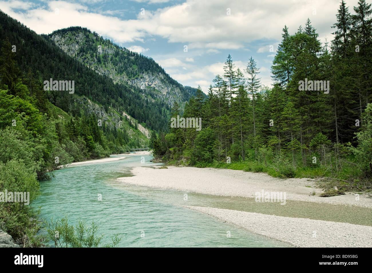 L'Allemagne, la Bavière - Isar et paysage de l'Allemagne dans les Alpes bavaroises Photo Stock