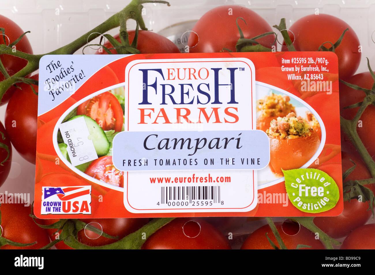 Étiquette de paquet de culture biologique des tomates. Photo Stock