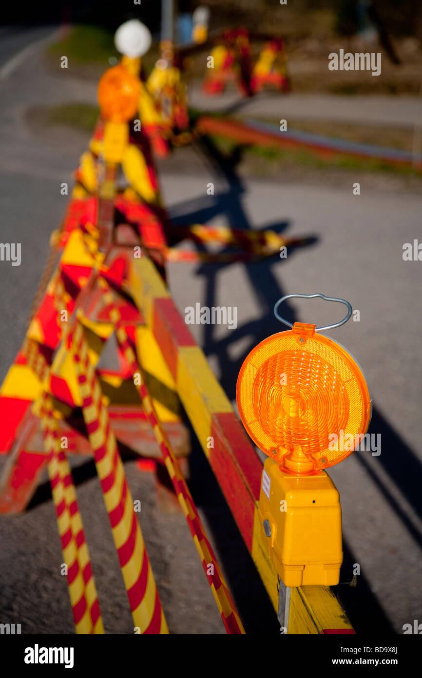 Au site témoin travaux routiers Banque D'Images