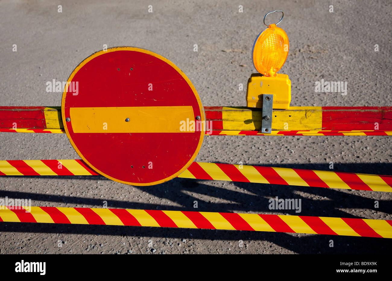 Travaux routiers à témoin site plus de trafic finlandais ( pas d'entrée ) Banque D'Images