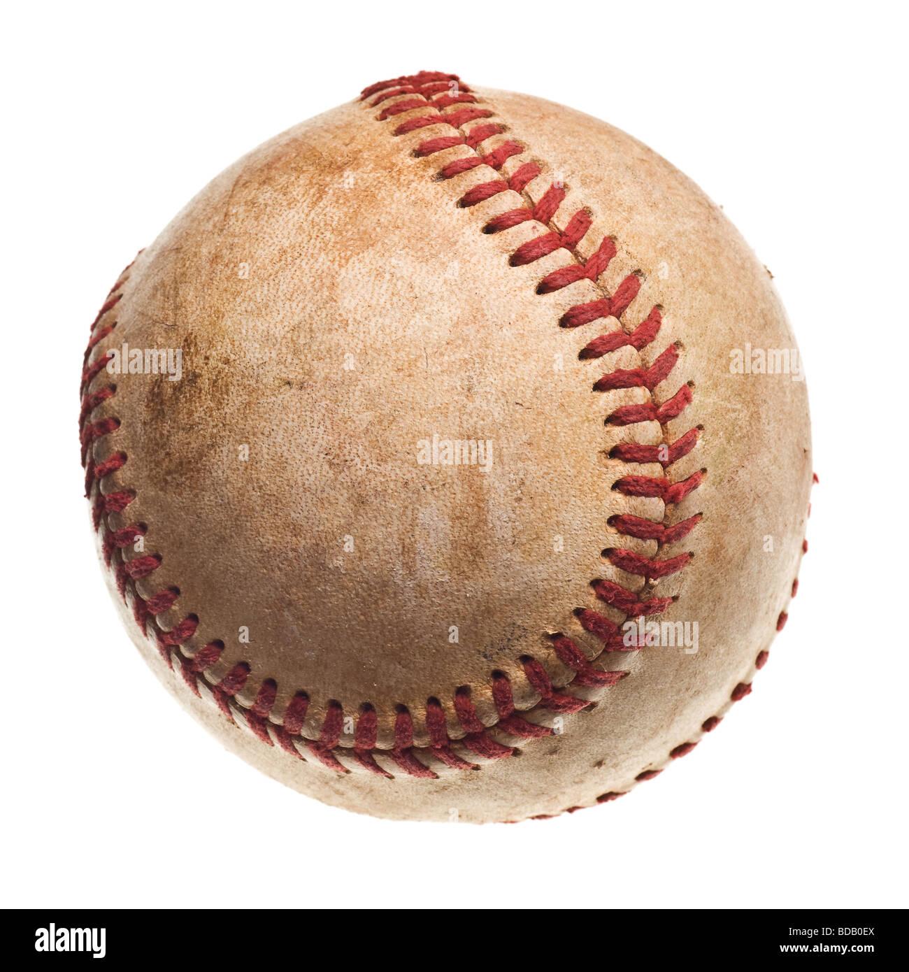 Baseball baseball avec surpiqûres rouges isolé sur fond blanc Photo Stock