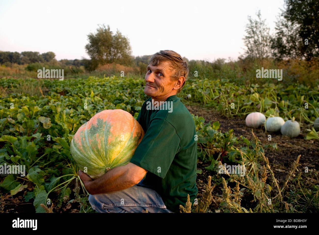 Portrait de paysan assis dans garden holding pumpkin Photo Stock