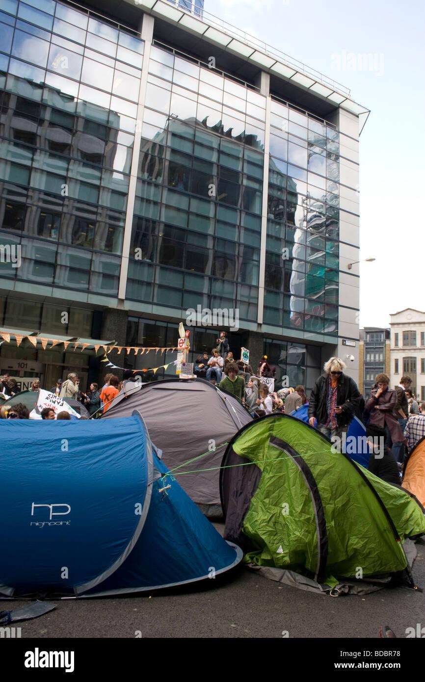G20 camp climat à Londres. Banque D'Images