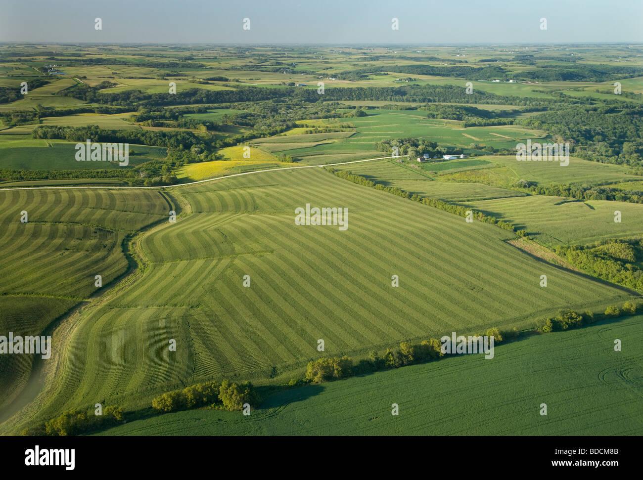 Vue aérienne de la zone rurale, Winneshiek County, Iowa Photo Stock