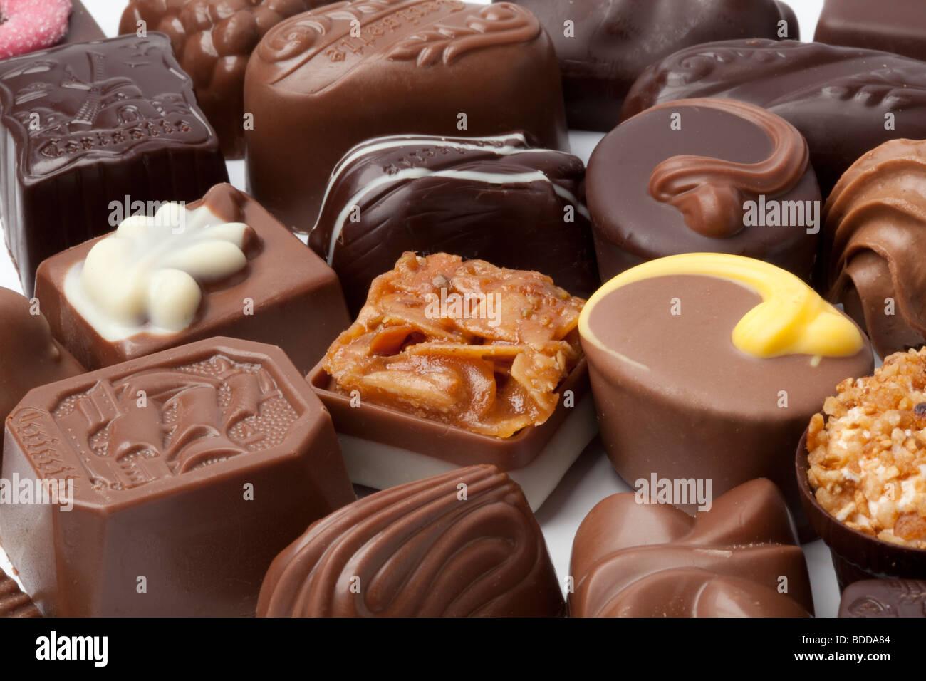 Bonbons de chocolat noir Photo Stock