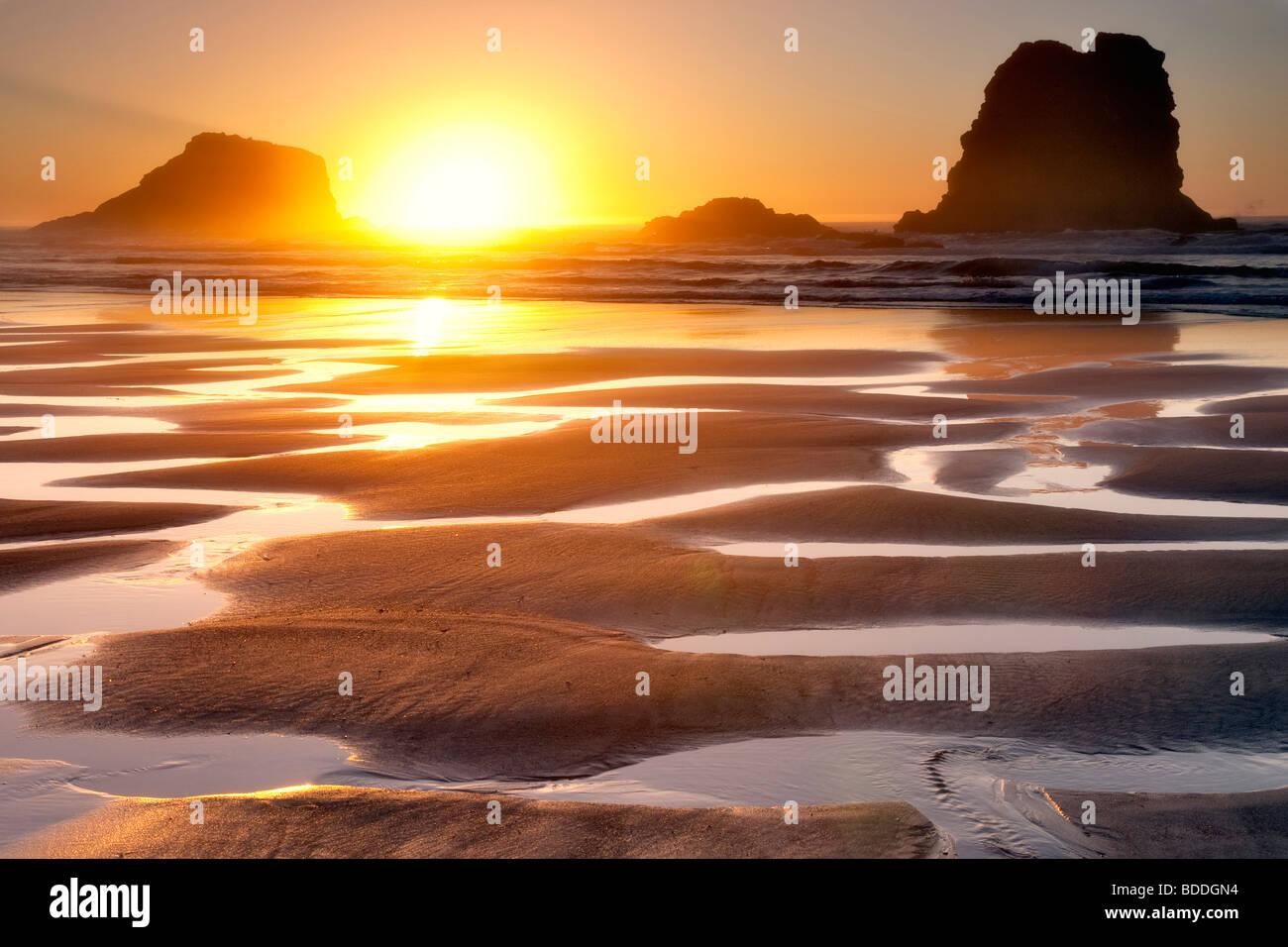 Coucher du soleil à marée basse des bassins.Samuel H. Boardman State Scenic Corridor. Oregon Banque D'Images