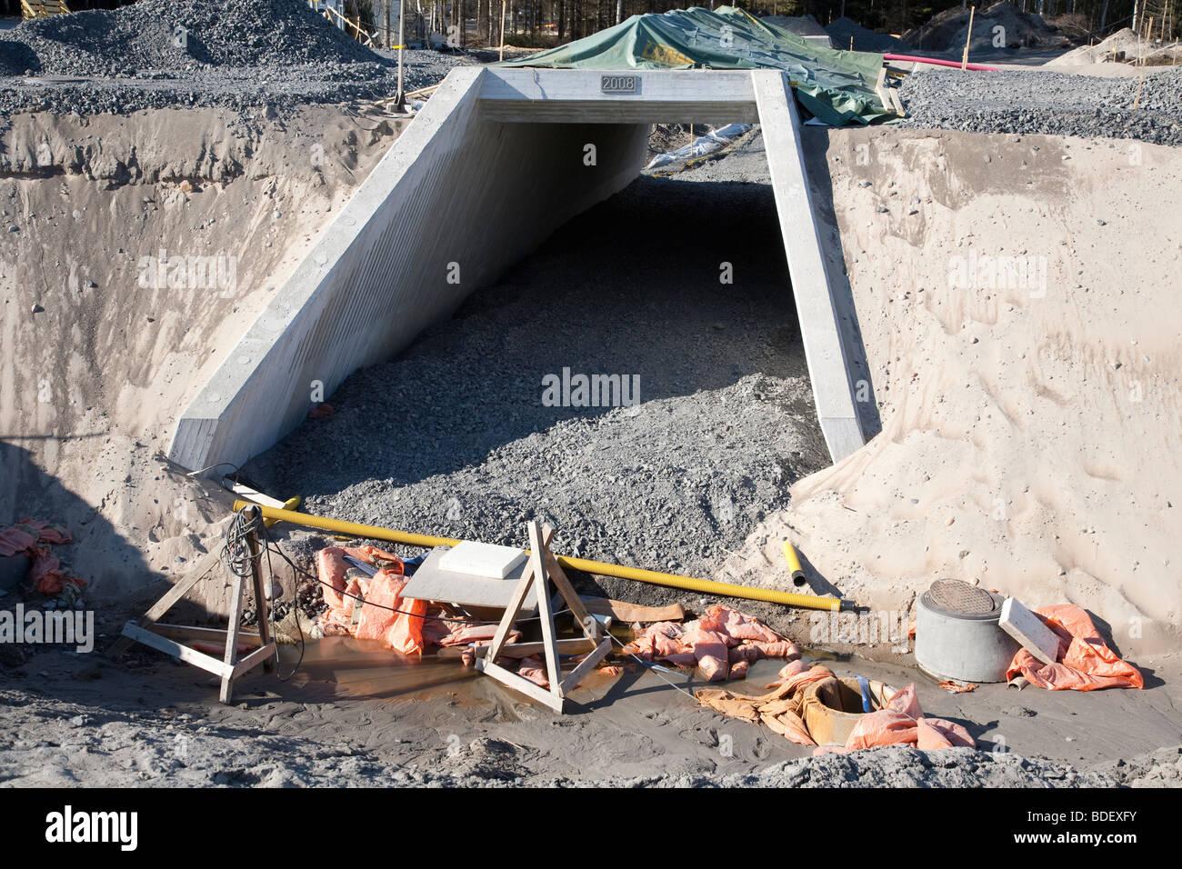 Passage souterrain pour piétons et cyclistes en construction , Finlande Banque D'Images