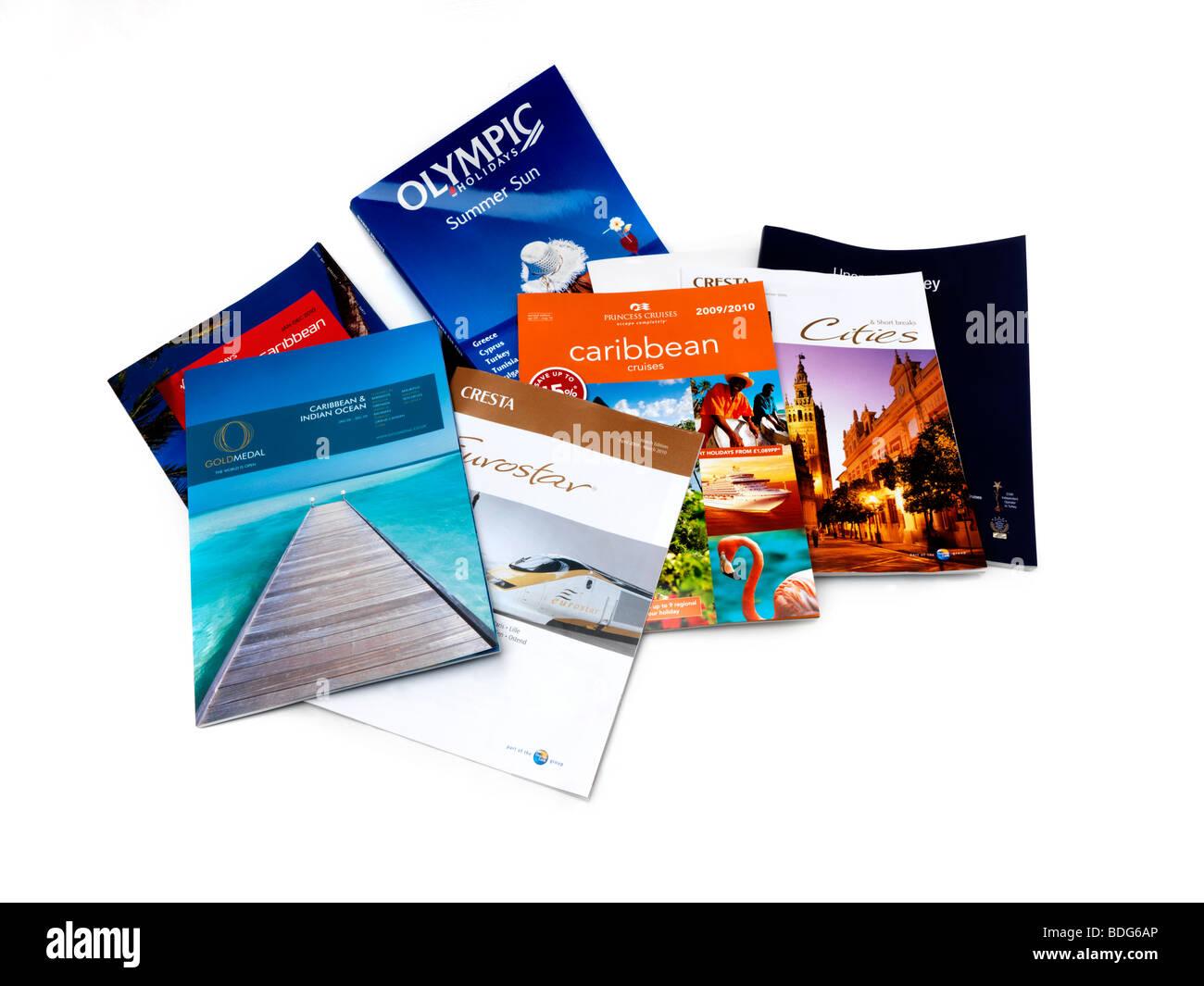 Sélection de brochures de voyage Sans date Photo Stock
