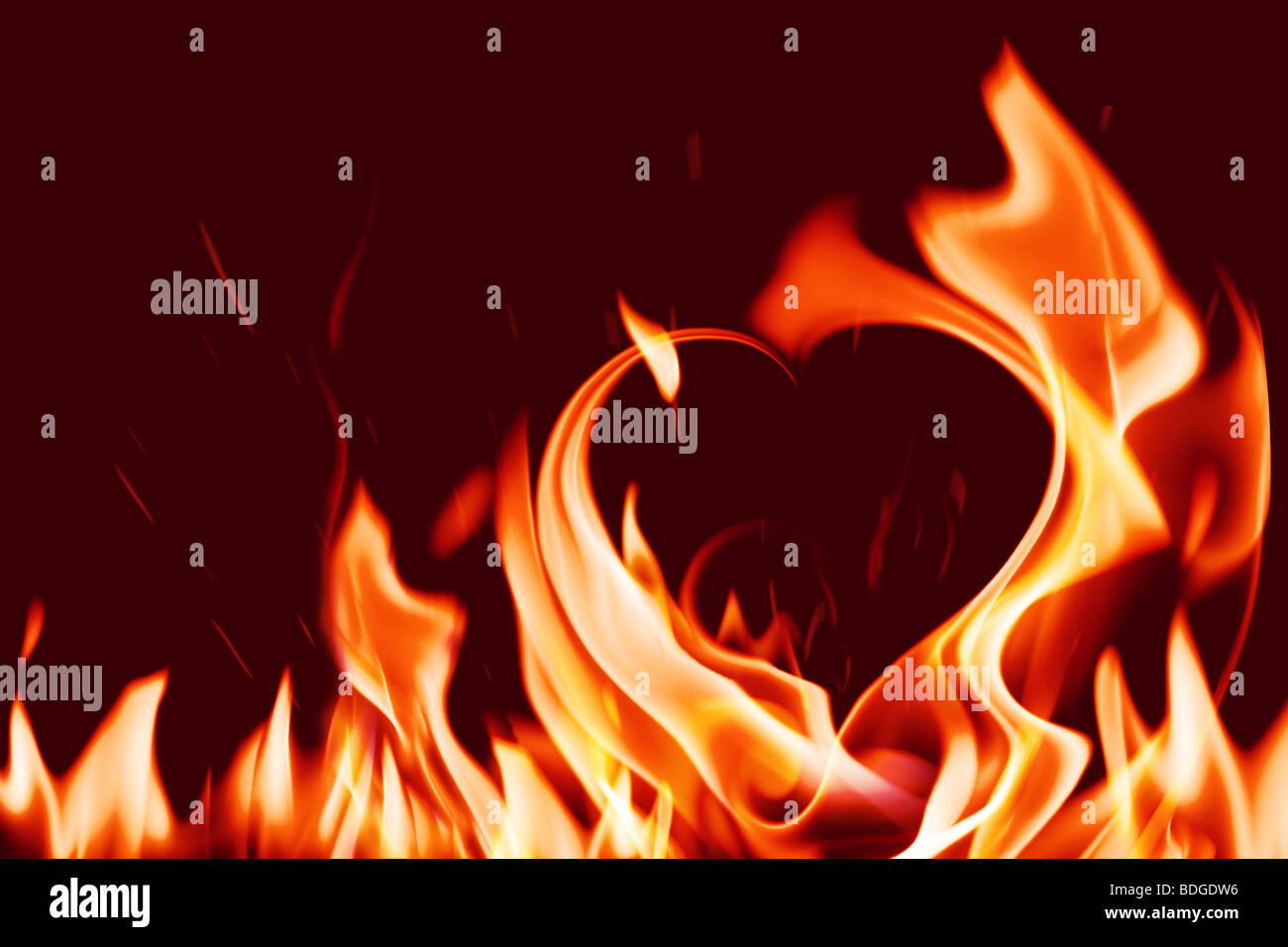 coeur en feu Photo Stock