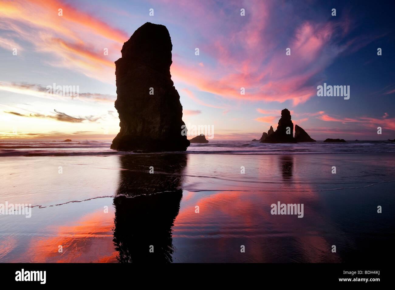 Marée basse et du coucher du soleil à réflexion Samuel H. Boardman State Scenic Corridor. Oregon Photo Stock