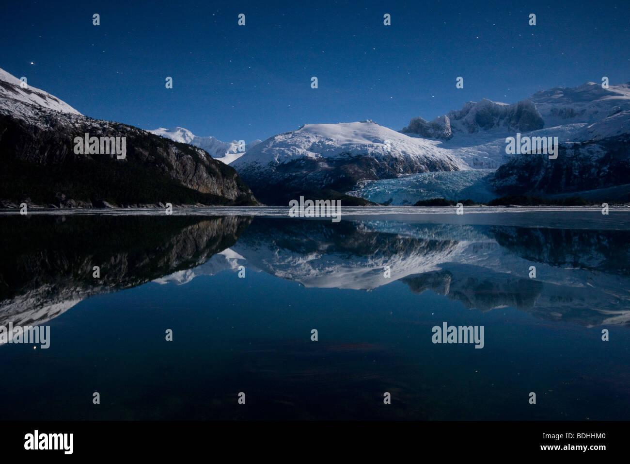 L'hiver, Seno Pia, bras Est, la Terre de Feu, Chili Photo Stock