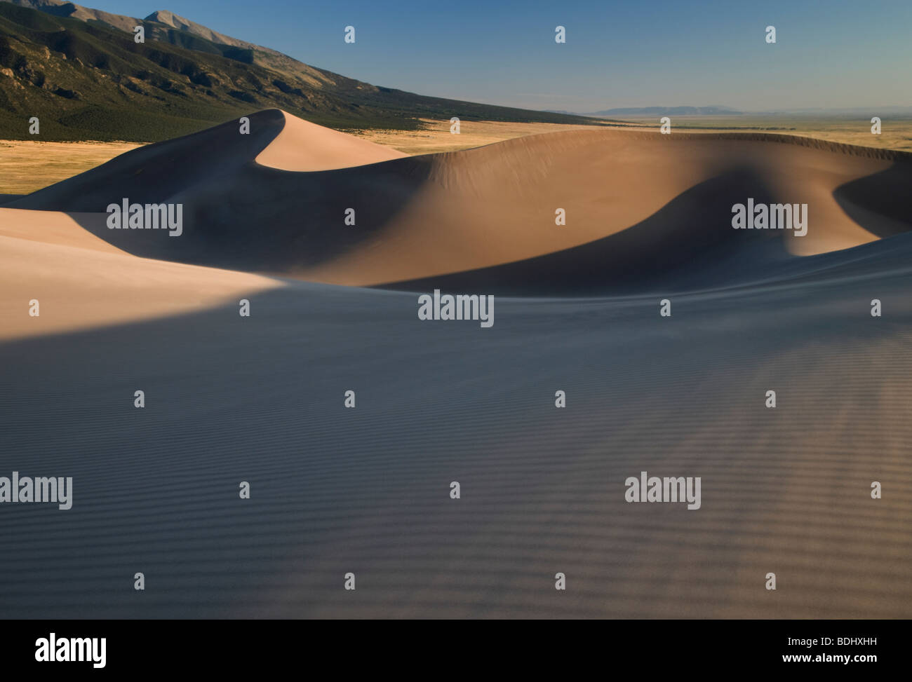 Les dunes et le sable, Great Sand Dunes National Park, Colorado Banque D'Images