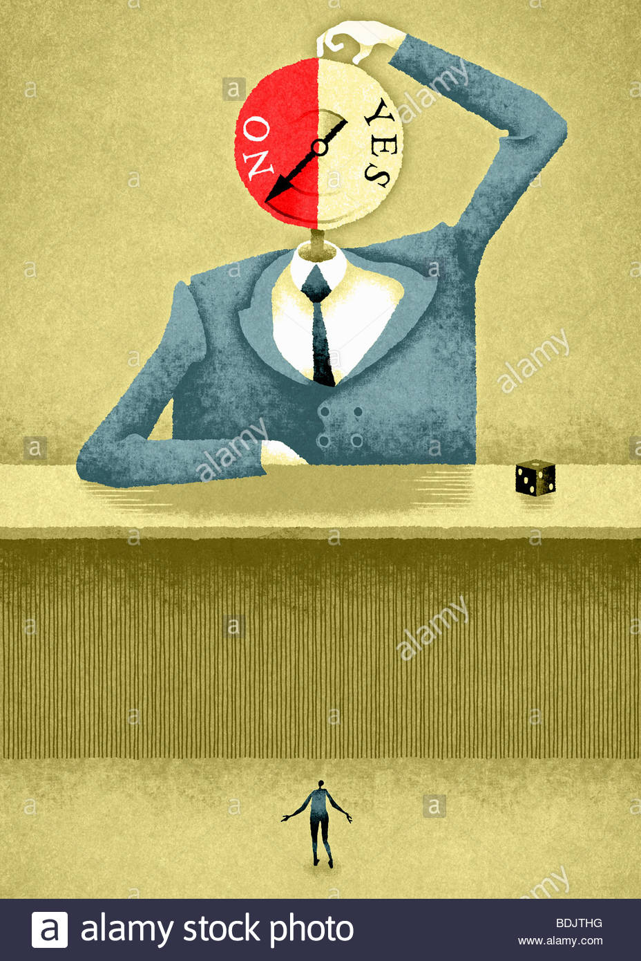 Grand businessman with spinning 'oui'/'Non' head Photo Stock