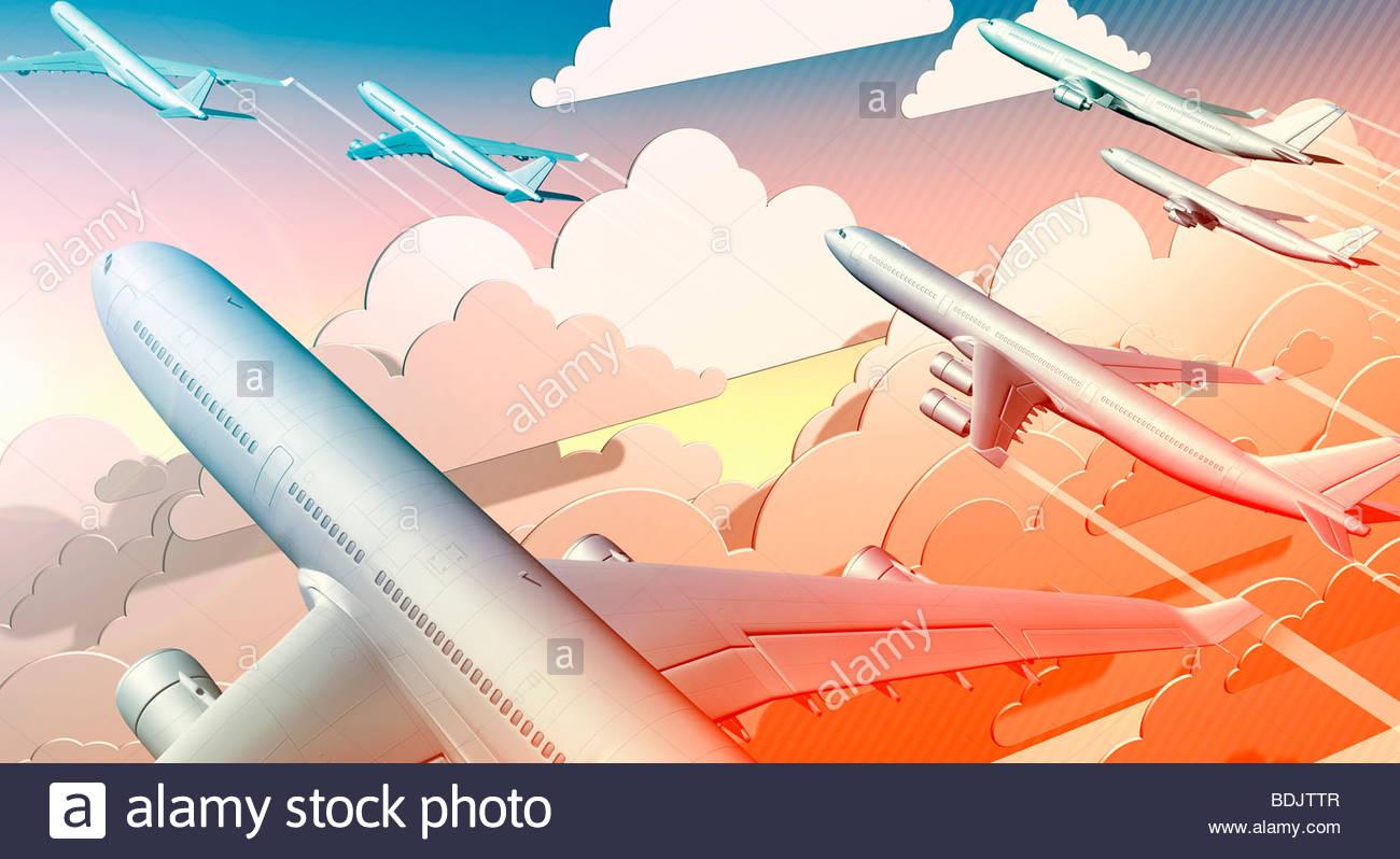 Groupe d'avions qui décollaient en sky Photo Stock
