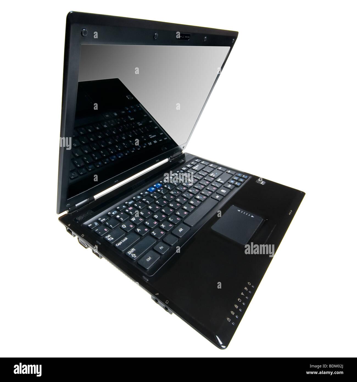 Ouvrez l'ordinateur portable ultraplat. L'objectif utilisé extra large. Isolé Photo Stock
