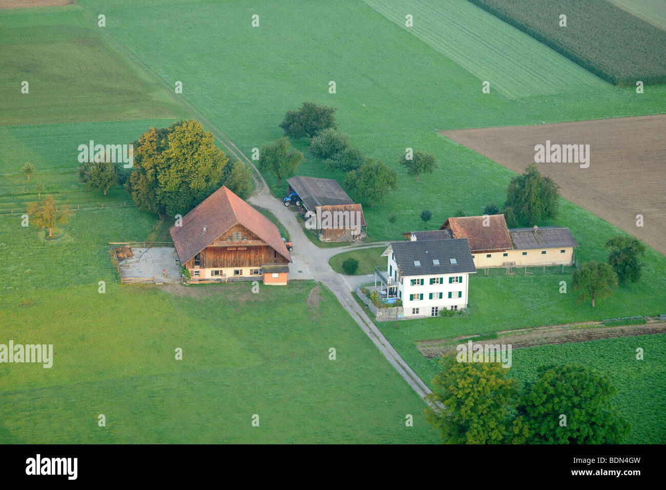 Une ferme typiquement suisse de dessus, Luzern, Suisse, Europe Photo Stock