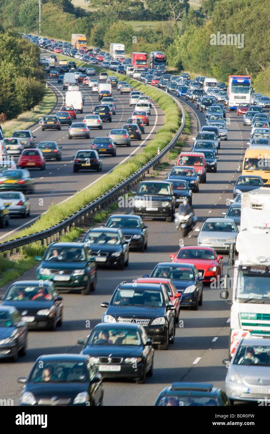 Embouteillage sur la voie rapide. A3, Surrey, UK Photo Stock