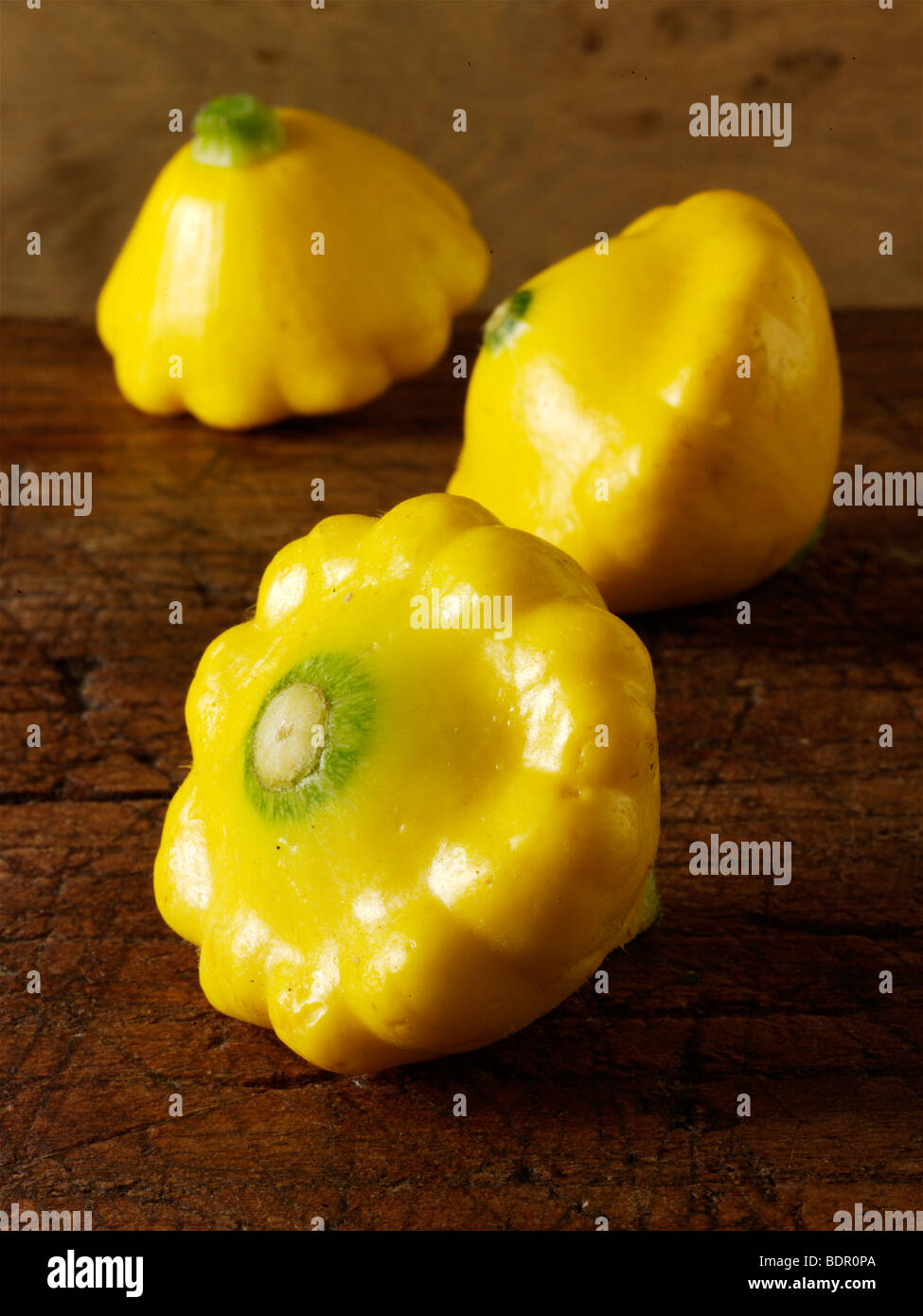 Mini jaune Petit Pan squash Photo Stock