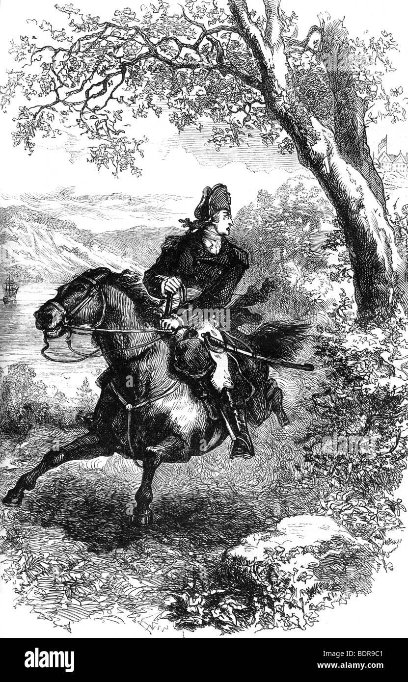 S'échapper de Benedict Arnold, 1780 (c1880). Artiste: Inconnu Banque D'Images