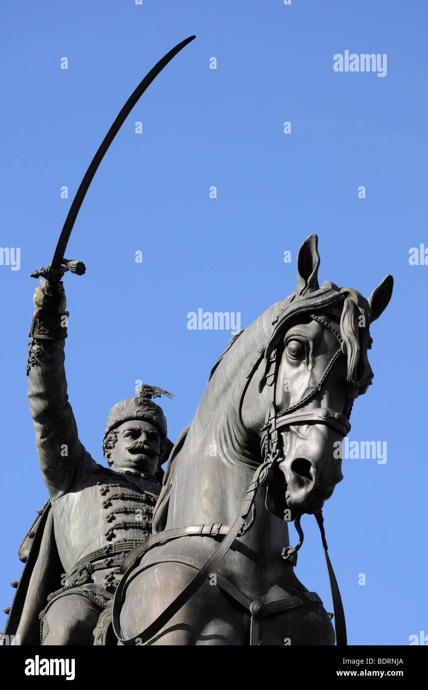 Zagreb, Croatie. statue équestre de Ban Jelacic dans trg josip jelacica (square) Photo Stock