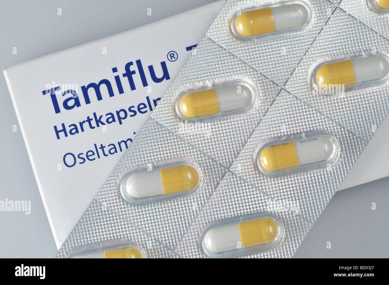 Le Tamiflu, médicament contre la grippe par la société suisse Roche Photo Stock