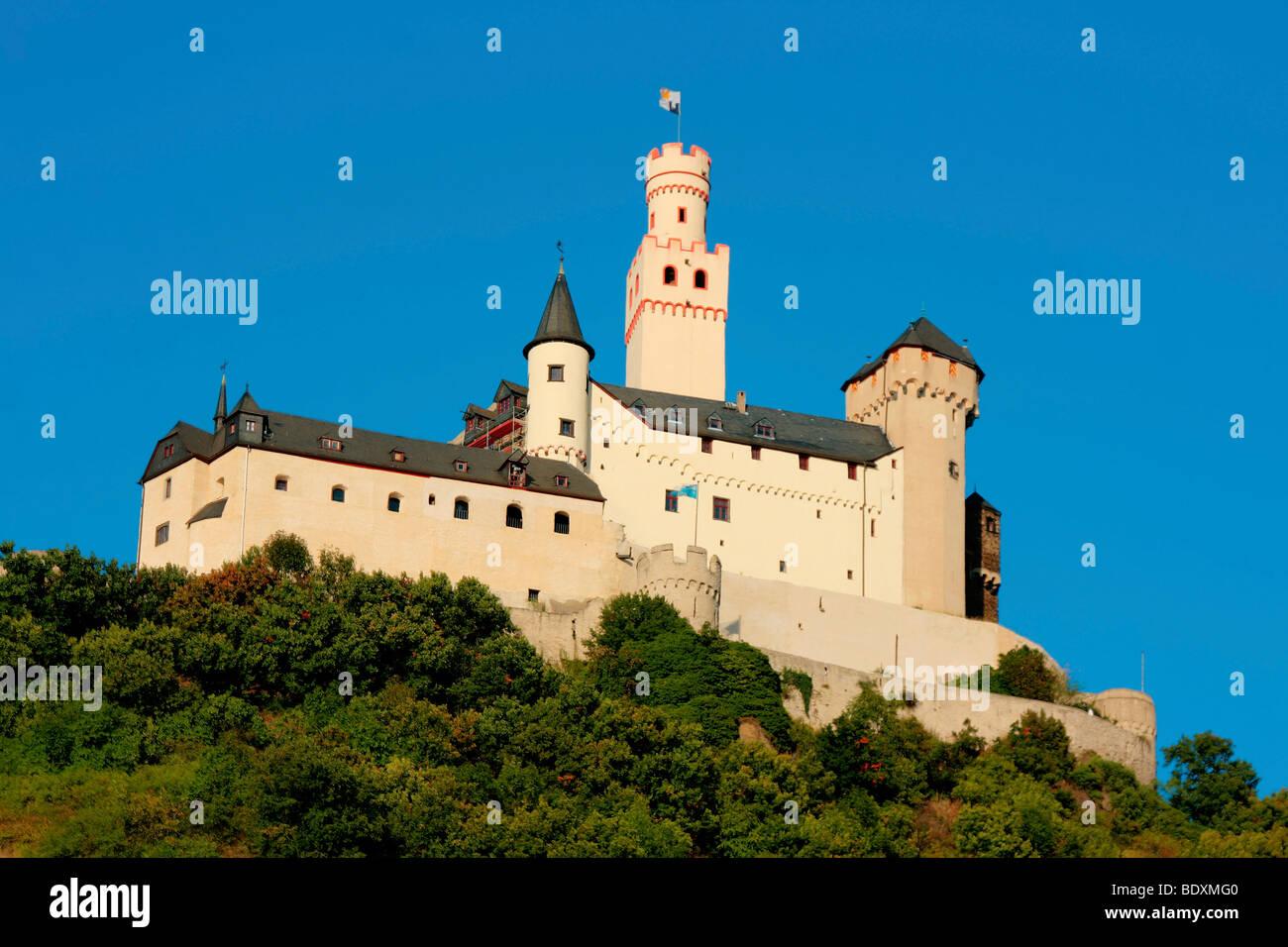 La dernière forteresse de marksburg, encore intacte château perché dans le patrimoine mondial de Photo Stock
