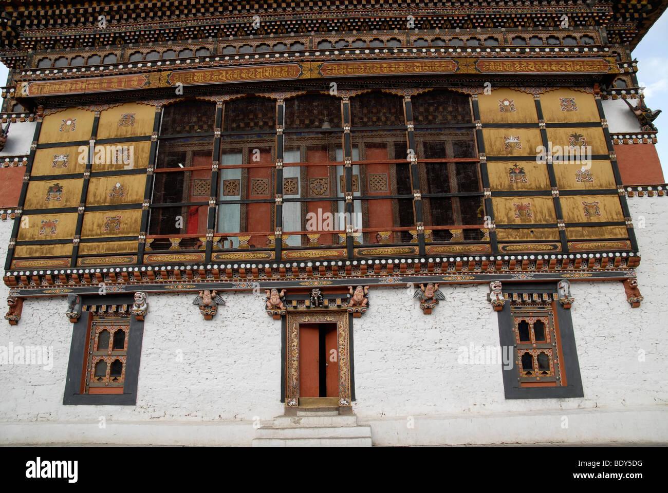 Bâtiment central de Thimphu Dzong avec boiseries fines et colorées, le Bhoutan Photo Stock