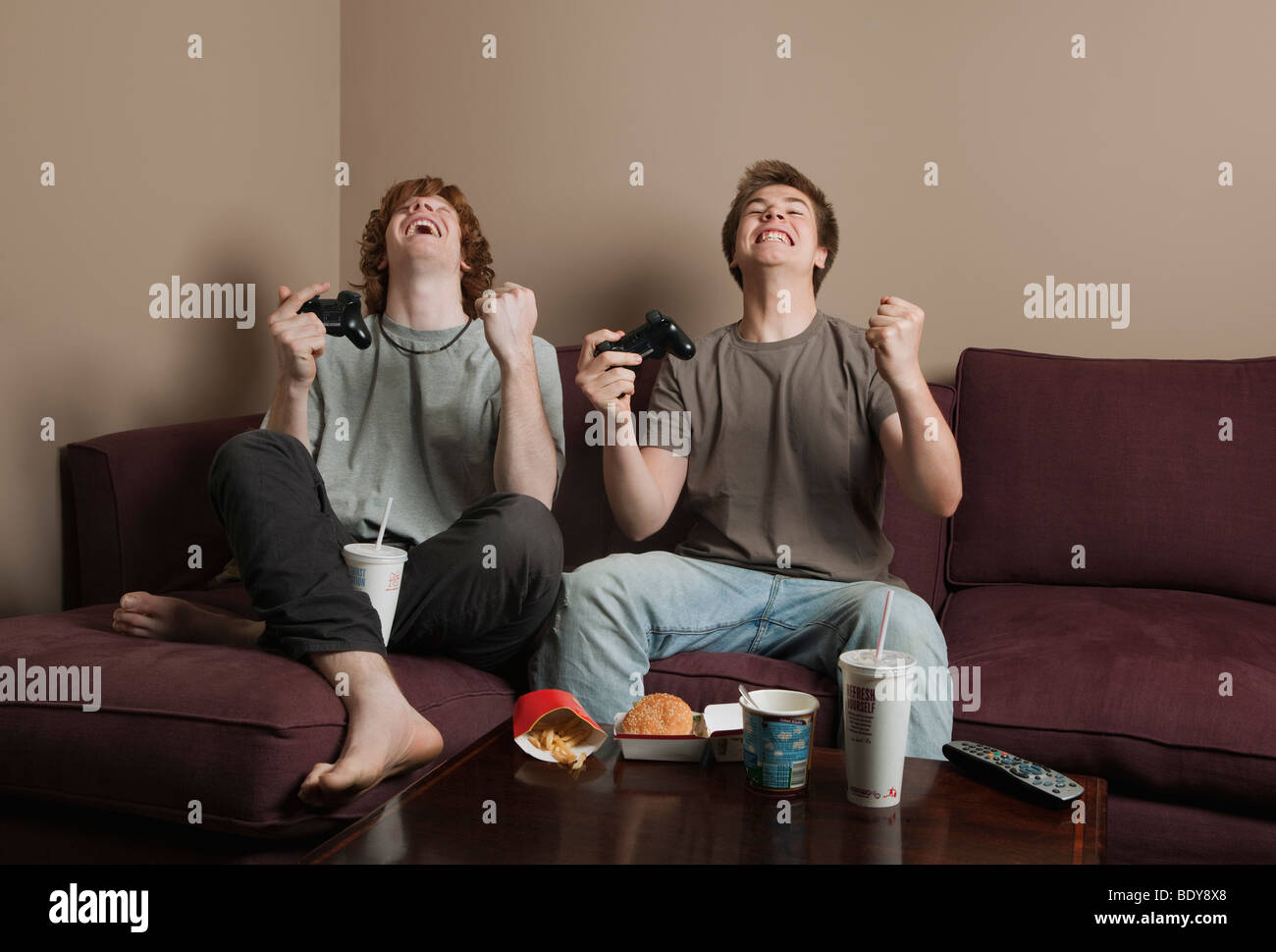 Boys playing video game Photo Stock