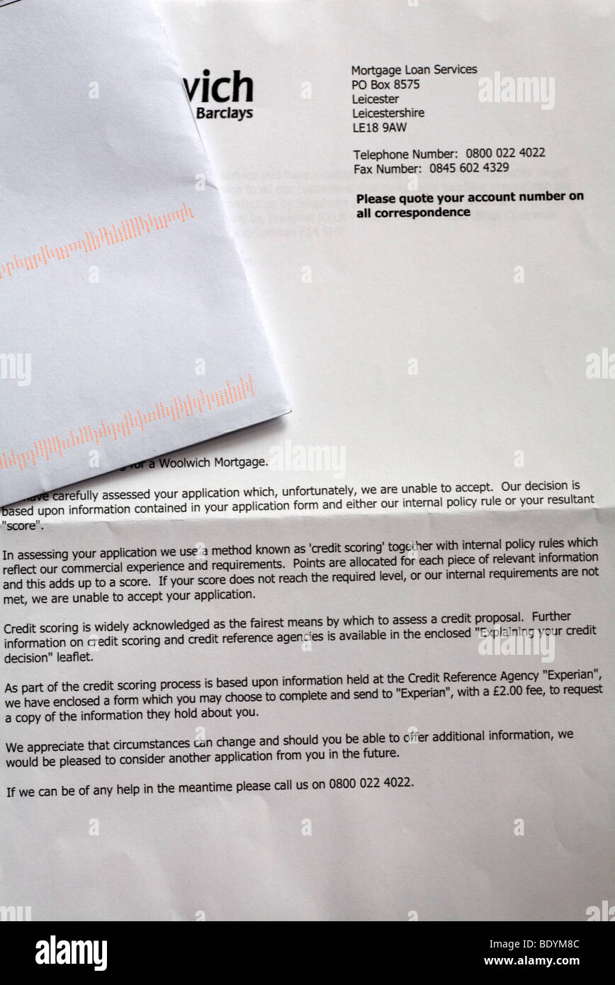 Lettre de demande de prêt hypothécaire rejetée Photo Stock