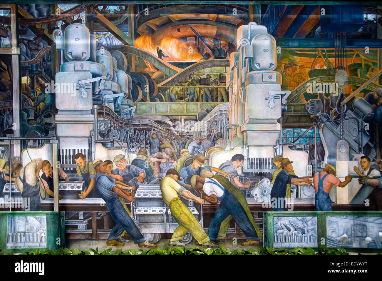 Rivière Ford Rouge factory ouvriers fabriquent des pièces de voitures en 1933, la fresque de Diego Rivera Photo Stock