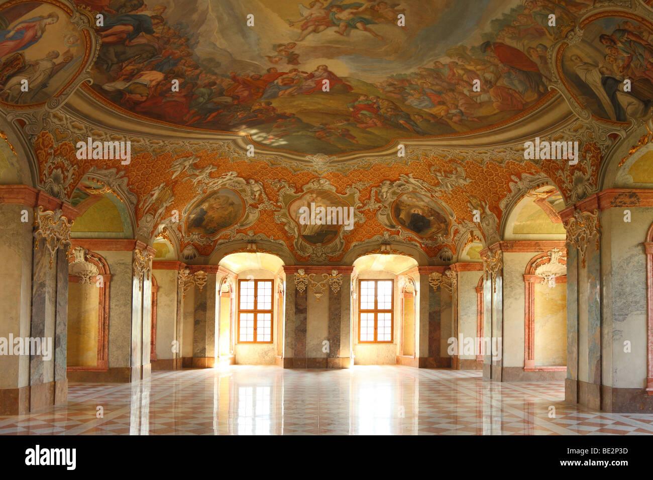 Le réfectoire du monastère de style baroque, Lubiaż Basse Silésie Pologne, Cistercienne Cisterciens Kloster Leubus Banque D'Images