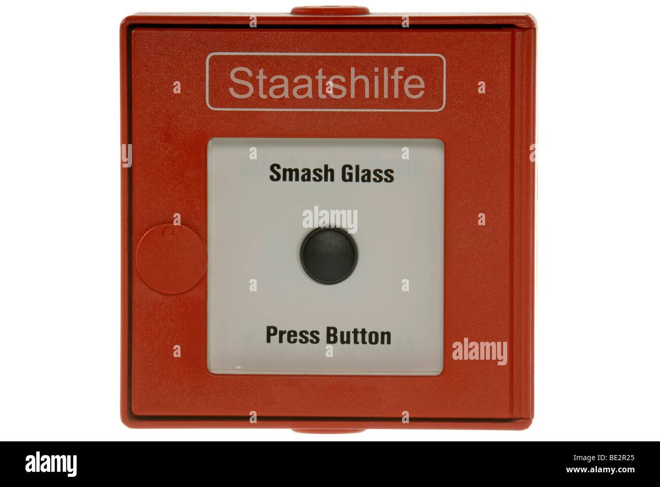 Alarme incendie anglais taatshilfe', ', l'aide de l'état, lettrage, symbolique pour crise bancaire Photo Stock