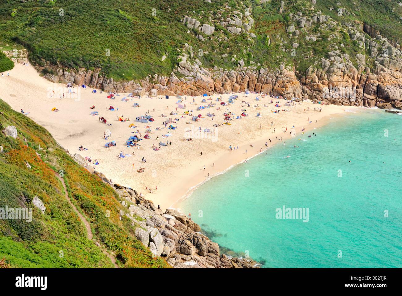 Cote Sud Angleterre porthcurno bay, une plage sur la côte sud-est de l'angleterre