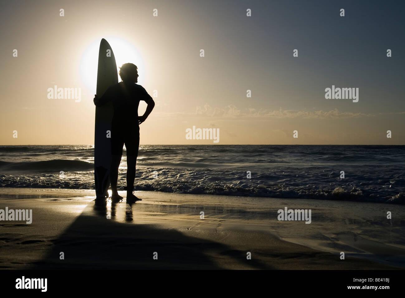Homme debout avec une planche de surf au lever du soleil. La plage de Bondi. Sydney, New South Wales, Australia Photo Stock