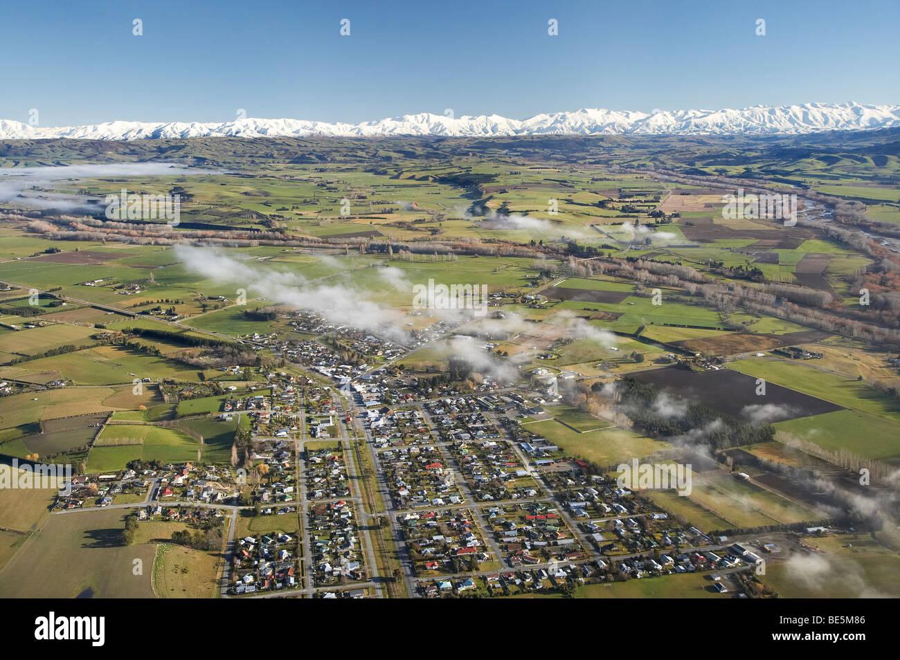 Point agréable et la brume, South Canterbury, île du Sud, Nouvelle-Zélande - vue aérienne Photo Stock