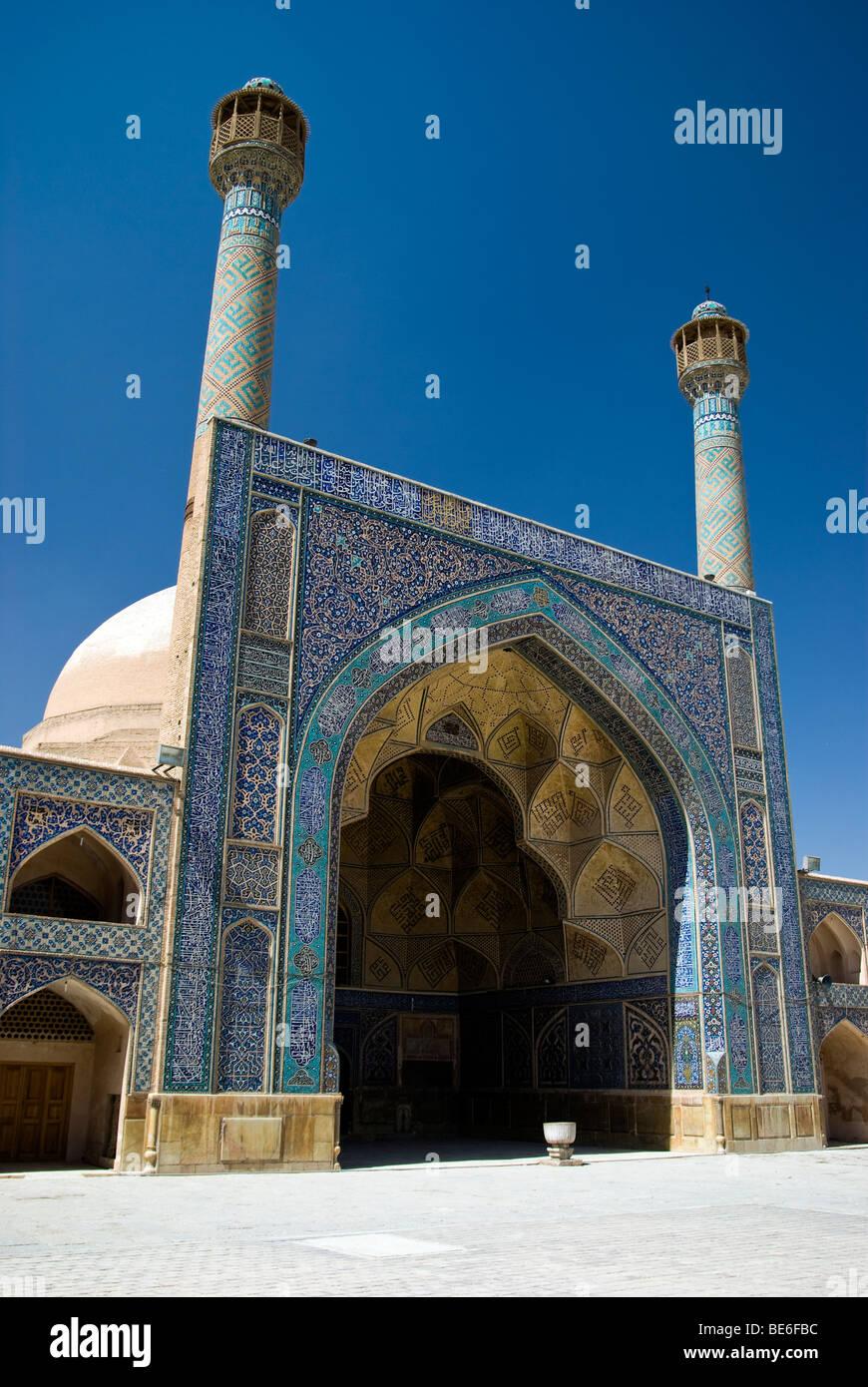 L'entrée principale de la mosquée Jameh (iwan), Ispahan, Iran Photo Stock