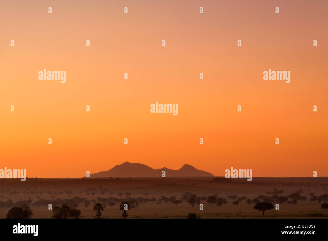 Mont Morungole mou vu depuis le Parc National de Kidepo Valley dans le nord de l'Ouganda à l'aube. Photo Stock