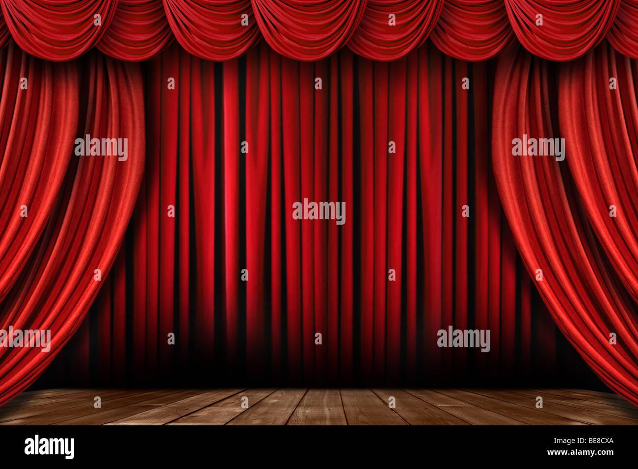 Rideaux de scène rouge vif spectaculaire avec de nombreux festons Banque D'Images