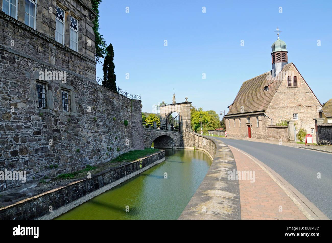Chapelle, Haemelschenburg, château Renaissance de la Weser, Bad Pyrmont, Hameln, Emmerthal, Basse-Saxe, Allemagne, Europe Banque D'Images