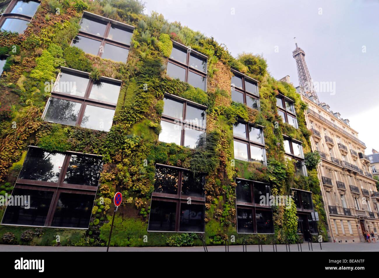 Jardin Vertical sur la façade du Musée du Quai Branly (MQB), un ...