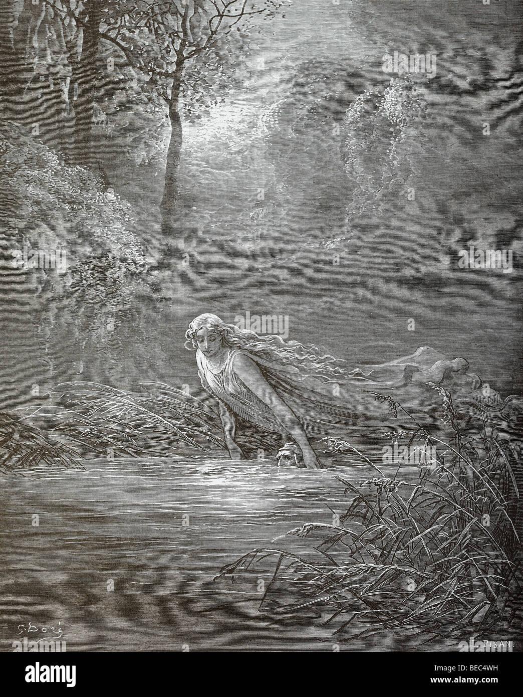 L'illustration de Gustave Dore 'Submersion dans Lethe' de la Divine Comédie de Dante Photo Stock