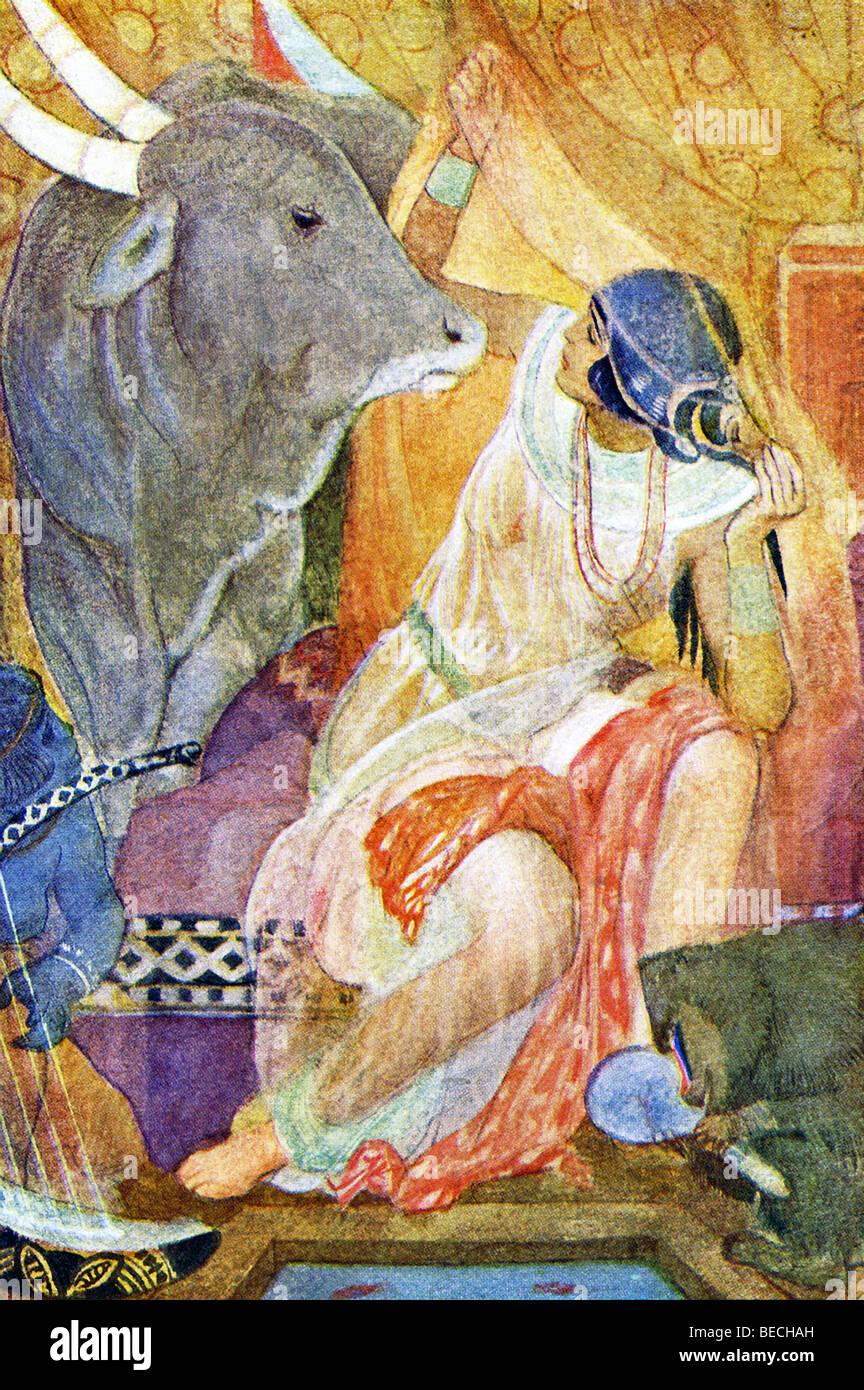 Un égyptien nommé Bitou en un taureau Apis, le taureau sacré adoré par les Égyptiens, et rendit visite à son ex Banque D'Images