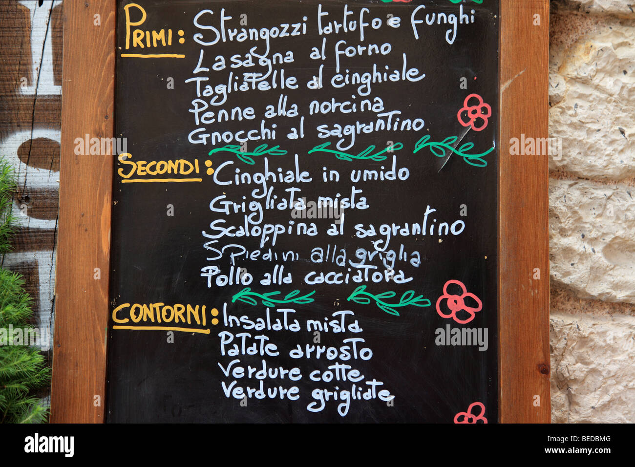 Menu affiché dans Assisi Italie Photo Stock