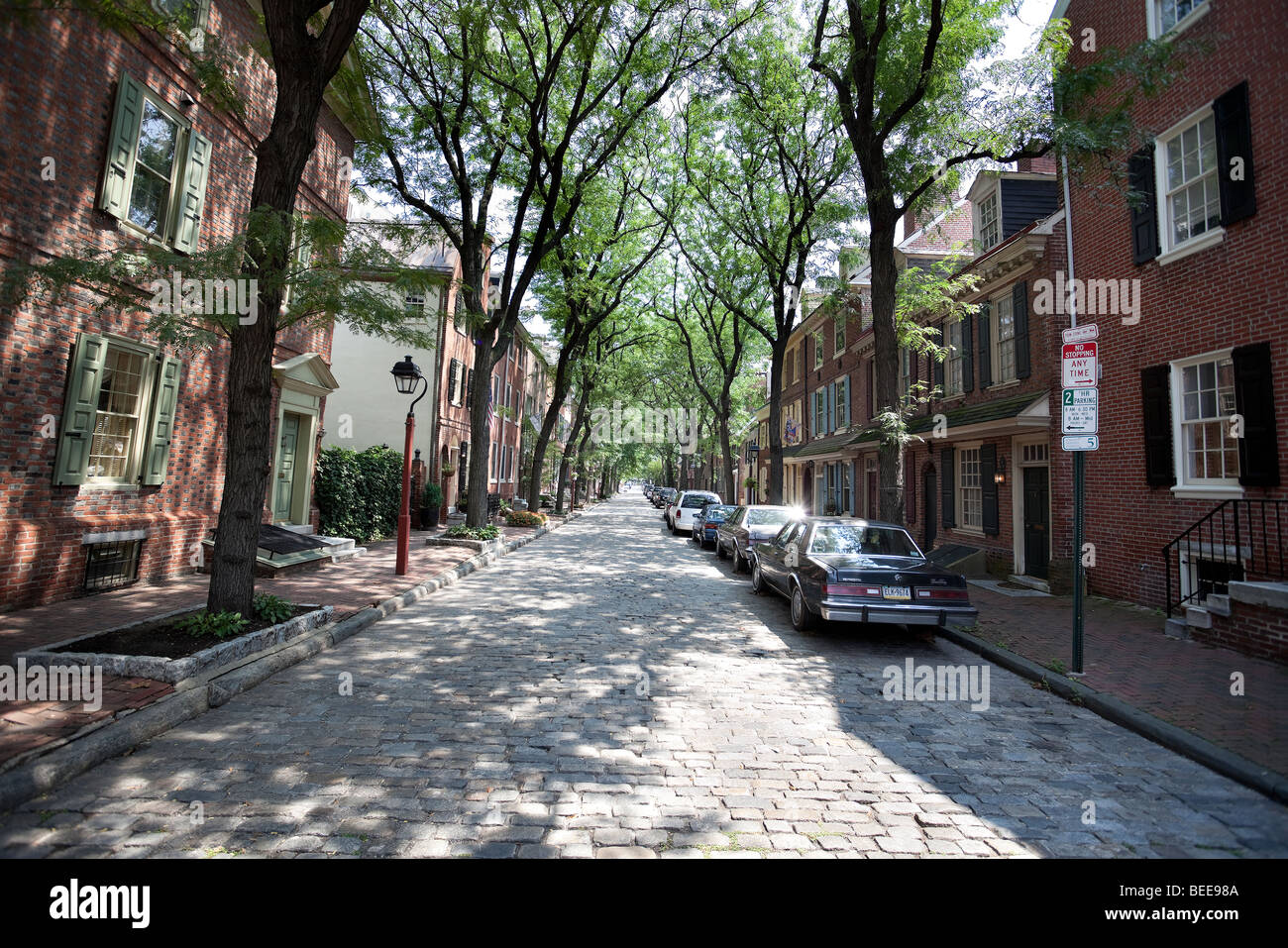 Quartier résidentiel, Philadelphie, Pennsylvanie, PA, USA Photo Stock