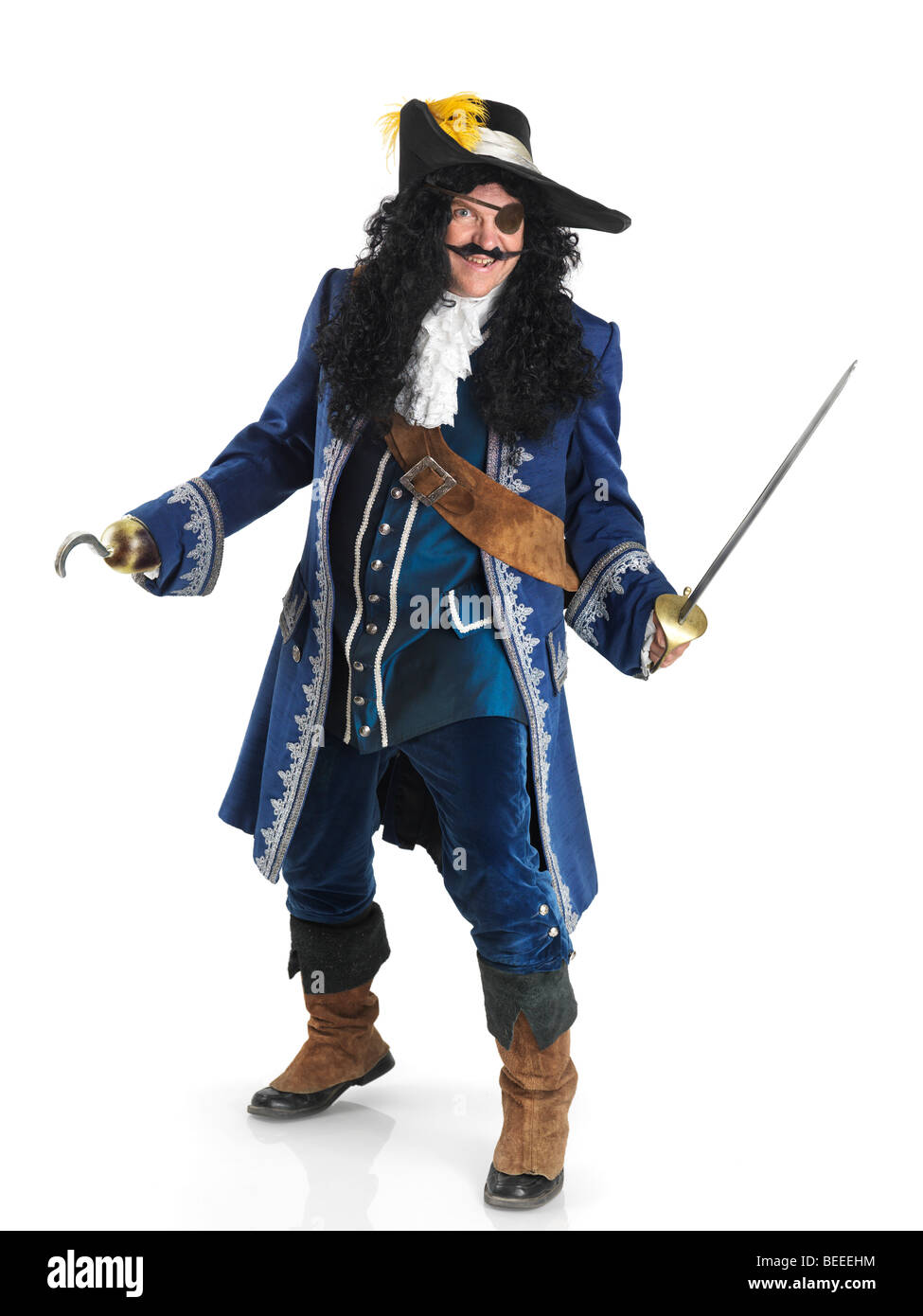 Rire pirate avec une épée et un crochet Photo Stock